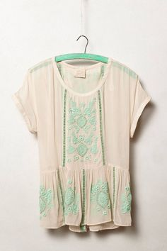 Embroidered mint top
