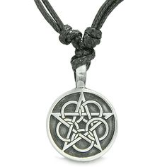 Best Amulets Collection. Very Unique and One of the Kind Magical Pentacle Star Defense Circle Pentagram Pendant Necklace. Amulet is made from Pewter. Amulet Size: 28 mm. Ready to wear with Very Popula