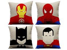 Set of 4 superhero pillows, superman pillow, batman pillow, spiderman pillow, ironman pillow, superhero, superman, batman, geek, birthday