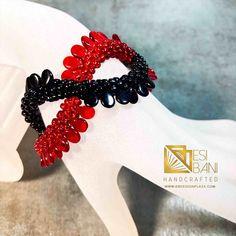 Red/Black Criss-Cross Bracelet, Kumihimo bracelet, beaded bracelet, Statement jewelry Copper Necklace, Gemstone Necklace, African Print Dresses, African Jewelry, Cool Fabric, Statement Jewelry, Bracelet Making, Criss Cross, Red Black