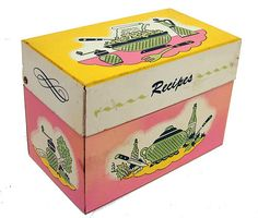 Vintage 1950's Metal Tin Recipe Box by Ohio Art Co Yellow Pink Green |
