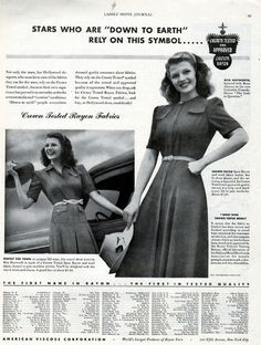 Rita Hayworth in a 1940 ad for Crown Rayon.