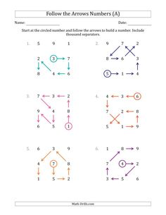 The Follow The Arrows to Build a Number and Include Thousands Separators (Grid Numbers Mixed) (A) Math Worksheet from the Place Value Worksheets Page at Math-Drills.com. Place Value Worksheets, Math Worksheets, Math Drills, Place Values, First Page, Arrow, Arrows