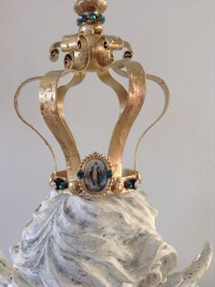 OOAK Gold french santos inspired Virgin Mary crown by ShabbyHaus