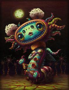 Featured Artist: Yoko D'Holbachie – Fair Rabbit Art Art Pop, Psychedelic Art, Arte Lowbrow, Cute Monsters, Creepy Cute, Weird Art, Art And Illustration, Portrait Illustration, Surreal Art
