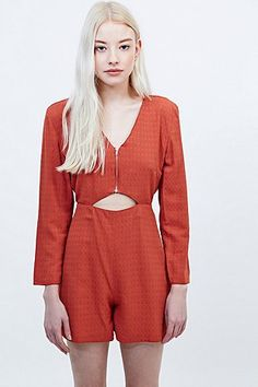 Cooperative by Urban Outfitters Cut-Out Front Playsuit in Rust - Urban Outfitters
