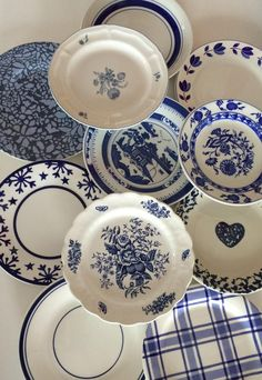 Items similar to Blue White Salad Plates Mismatched - Stripe Floral Spatter Asian Indigo Sky Ocean Blue - Wedding Shower Country Cottage Farmhouse Decor on Etsy Blue Dishes, White Dishes, Blue And White China, Blue China, Navy Blue, Rustic Plates, Decorative Plates, Vintage Plates, Vintage China