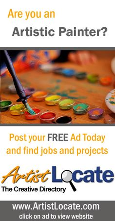 www.artistlocate.com - Are you an artistic painter and want to make money? Post your ad on our site and receive jobs in projects for graphic and website design, programming, acting, singing and musicians, modelling, painting, photography and more! Creative Jobs, Free Ads, Programming, Musicians, Acting, How To Make Money, Singing, Website, Projects