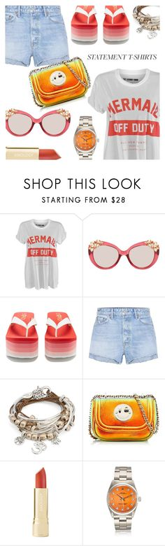 """Slogan Tee"" by stacey-lynne ❤ liked on Polyvore featuring Katie Price, Jimmy Choo, Rocket Dog, GRLFRND, Lizzy James and Hill & Friends"