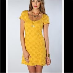 "Free People Daisy Godet Dress NWT This dress is NWT, perfect condition, SO cute. I love the neckline. Such a great dress. Mustard color. 34"" long Free People Dresses"