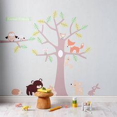 sticker mural chambre bébé animaux de la forêt en couleurs pastel
