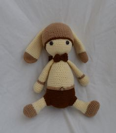 School Boy Bunny with Backpack. Crochet by Hooked on Handicraft