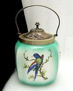 Vintage Ceramic Biscuit Jar Silver Plate Lid Handle Blue Birds