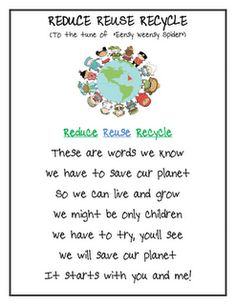 Reduce, Reuse, Recycle song - Earth Day - Re-pinned by @PediaStaff – Please Visit http://ht.ly/63sNt for all our pediatric therapy pins