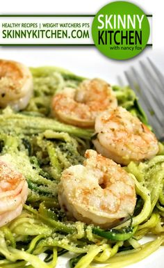 Skinny Shrimp Scampi over Low Carb Zoodles. Shrimp sautéed in a light and delicate, garlic butter sauce. It's so good! Each serving has 170 calories, 7g fat & 4 Weight Watchers POINTS PLUS. http://www.skinnykitchen.com/recipes/skinny-shrimp-scampi-over-low-carb-zoodles/