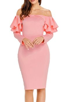 d8f80fe3886 Pink Ruffle Off The Shoulder Long Sleeve Bodycon Dress