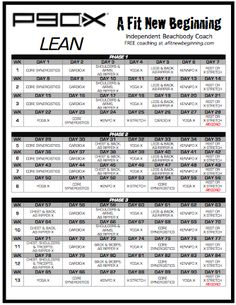 P90x Lean Routine Schedule | This P90X Lean Workout Routine can be printed time and time again