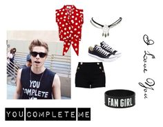 """You Complete Me"" by punk-funk ❤ liked on Polyvore featuring Boutique Moschino, Converse, Wet Seal, love, PolkaDots and lukehemmings"
