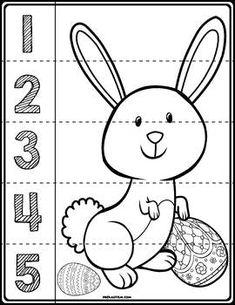 Easter Bunny Line Puzzles - Math Preschool Printables, Preschool Worksheets, Preschool Crafts, Easter Worksheets, Community Helpers Preschool, Preschool Lessons, Easter Puzzles, Kids Schedule, Preschool Colors