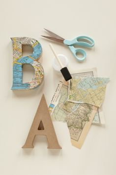 Decoupaged Kraft Letters with vintage map wrapping paper #maps
