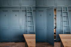 Dorset Farmhouse Farm Kitchen featuring bespoke storage pantry.
