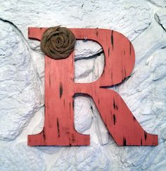"9.5"" Rustic Coral Letter with Burlap Flower Sshabby Chic Photo Prop Wedding Decor Gift A B C D E F G H I J K L M N O P Q R S T U V W X Y Z"