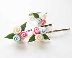 Toddler Pink blue and white Clay flower Set of by Yayahandicraft, $11.00
