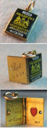Vintage Enameled Gold Passport Charm ~ From The Estate of Joan Munkacsi