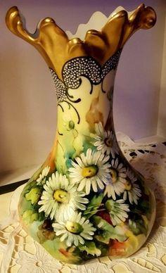 Antique Jean Pouyet Limoges France hand painted flower gold gild Vase