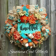Be thankful and dress up your door this fall season with this beautiful Thankful Fall Wreath by SouthernGalMotifs! It has this fall's top color scheme for the color palette: turquoise and ora… Easy Fall Wreaths, Diy Fall Wreath, Thanksgiving Wreaths, Fall Diy, How To Make Wreaths, Thanksgiving Decorations, Holiday Wreaths, Wreath Ideas, Fall Decorations