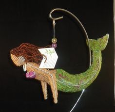 Brunette Mermaid Glass Beads Beaded Wire Handcrafted Beadworx NWT Hanging