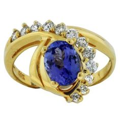 Ladies Diamond & Tanzanite Ring in 14K Yellow Gold( TCW   1.78)