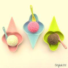l ice cream cone  dishes vintage retro crochet photography crocheted strawberry chocolate vanilla fun quirky Dirtylush