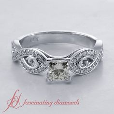 Detailed Crossover Ring    Asscher Cut Diamond Side Stone Ring With White Diamonds In 14k White Gold