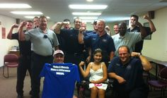 Local president Nick Fahs sent us this picture. Mehlville, Mo Local 1889 started their annual MDA kickoff. Pictured with President Fahs (front row left), is Morgan Fritz. Morgan's dad is a fire fighter in a neighboring department, but the Mehlville Firefighters call her their own angel.