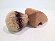 Hand made oak handled shaving brush with silvertip badger hair knot