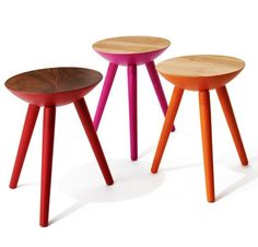 The perfect stool for around the table or in a kid's room. Available in  walnut and maple with with base colors of black, graphite, white, red,  orange, or pink.  13.5d x 17h  Shown in walnut, maple, teak with various colors.  Please allow 4-6 weeks for shipping.