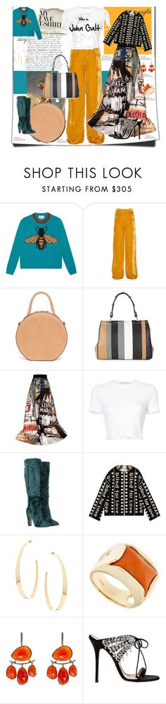 """My Favorite T Shirt"" by leotajane ❤ liked on Polyvore featuring Gucci, Thierry Mugler, Mansur Gavriel, Prada, Alice + Olivia, Rosetta Getty, Dolce&Gabbana, Lana, Jona and Nush"