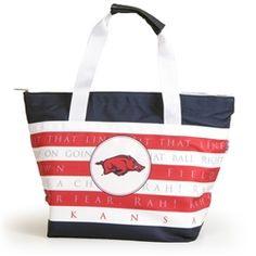 Our completely redesigned cooler features a heat sealed liner (no leaks!) and Arkansas Fight Song with collegiate logo emblazed on front. Zipper closure and removable exterior mean tossing in the wash is no problem! It's a win win. Click the pic to shop today.