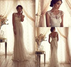 Vintage Sheer Wedding Dress Backless Lace Beach by LoveBirdsBakery, Rethink the bow