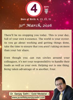 #Numerology‬ predictions for 31st March'16 by Dr.Sanjay Sethi-Gold Medalist and World's No.1 #AstroNumerologist.