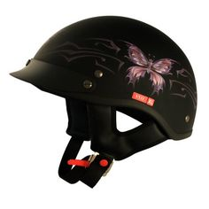 VCAN V531 Cruiser Intricate Butterfly Flat Black Small Half Helmet. For product info go to:  https://www.caraccessoriesonlinemarket.com/vcan-v531-cruiser-intricate-butterfly-flat-black-small-half-helmet/