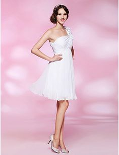 3c8868b74b8 Cocktail Party   Graduation   Homecoming   Wedding Party Dress - White Plus  Sizes   Petite A-line   Princess One Shoulder Knee-length Special Occasion  ...