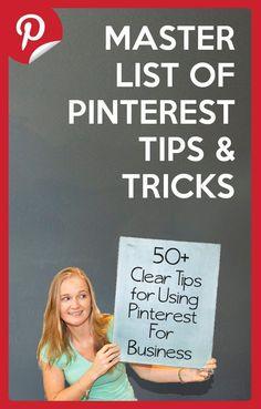 So many good tips here! Master List of 50 Pinterest Tips for Business Owners by Danielle Miller @mmmsocialmedia