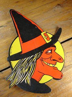 Vintage Die Cut Halloween Witch