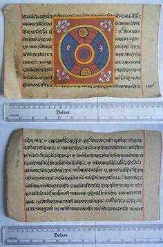 Original Antique Old Manuscript Jainism Cosmology New Hand Painting Rare #629