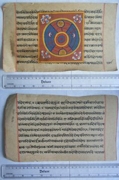 Original Antique Old Manuscript Jainism Cosmology New Hand Painting Rare #629