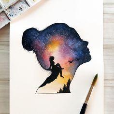 ✔ Cute Drawings Of Love Ideas Cool Art Drawings, Pencil Art Drawings, Art Drawings Sketches, Peace Drawing, Silhouette Painting, Woman Silhouette, Arte Sketchbook, Galaxy Painting, Pastel Art
