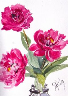 Three Peonies - watercolor flowers by Gretchen Kelly, painting by artist Gretchen Kelly