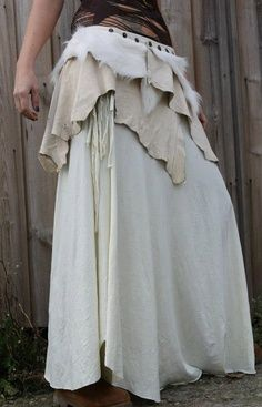 the tribal nordic artic warrior skirt in ivory white leather and lambs fur for all pixies fairys gypsy ethnic festival people. I don't know about all of that, but I love the look! Costume Viking, Renaissance Costume, Faerie Costume, Steampunk Vetements, Diy Outfits, Fantasy Costumes, Medieval Dress, Larp, Costume Design
